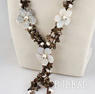 smoky quartze white pearl and shell flower necklace with jade clasp