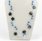 blue crystal and sodalite flower beaded long style necklace