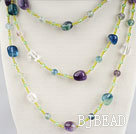 fashion long style rainbow flourite necklace