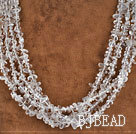 multi strand clear crystal chips beaded necklace with jade clasp under $ 40