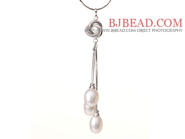 2014 New Jewelry 10-11mm White Freshwater Pearl Pendant Necklace with Metal Chain