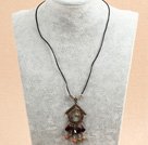 Simple Retro Style Garnet Green Piebald Stone Beads Tassel Pendant Necklace With Black Leather