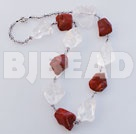 chunky style natural crystal red gem necklace