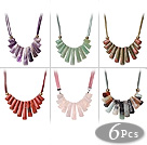 6 pcs Fantastic Fan Shape Multi Color Multi Stone Leather Necklace with Lobster Clasp
