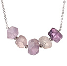 Cool Simple Style Irregular Shape Amethyst Necklace with Alloyed Chain