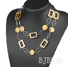 fashion long style party jewelry brown shell necklace with big matel loops