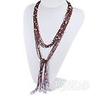 Purple Crystal and Pearl Knot tassel Necklace