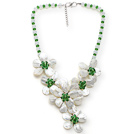 White and Green Series Opal Crystal and White Lip Shell Flower Party Necklace under $ 40