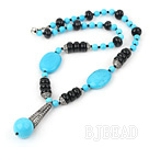 turquoise and black agate necklace