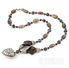 garnet pearl smoky quartz necklace