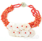 17.5 inches orange coral chip and white shell flower necklace under $100