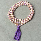 Multi Strands 11-12mm Gray and Violet Freshwater Pearl Leather Necklace with Magnetic Clasp and Black Leather