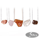 5 pcs Simple Design Irregualr Shape Agate and Crystal Necklace with Alloyed Thin Chain (random shape for stones)