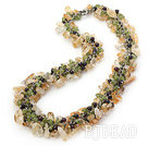 Yellow and Green Series Citrine and Garnet and Olivine Necklace with Metal Chain