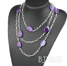 fashion long style purple agate necklace