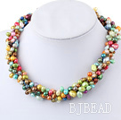 5 Strands multi color freshwater pearl twisted necklace