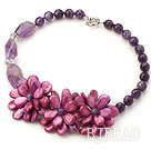 New Design Amethyst and Purple Shell Flower Necklace under $ 40