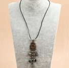 Simple Retro Style Picture Jasper Tassel Pendant Necklace With Black Leather