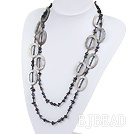 fashion long style black pearl and smoky quartze necklace