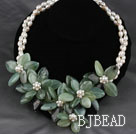 Natural White Freshwater Pearl and Jade Flower Party Necklace under $ 40