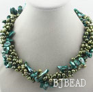 Multi Strands Dyed Green Freshwater Pearl and Teeth Shape Green Pearl Twisted Necklace