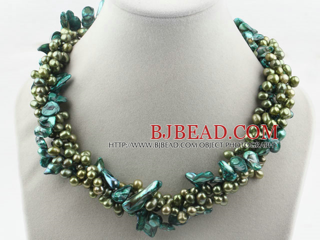 fe297f2a8c5 Multi Strands Dyed Green Freshwater Pearl and Teeth Shape Green Pearl  Twisted Necklace