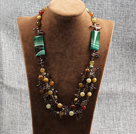 hot three color jade agate and smoky quartze necklace under $30