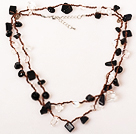 Faceted Burst Pattern Blue Agate Graduated Beaded Necklace