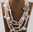 multi strand white pearl and rose quartze necklace with abalone clasp