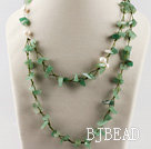 hot style white pearl and aventurine beaded necklace