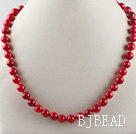 17.7inches 8mm red coral beaded necklace under $ 40