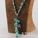 turquoise and charms Y shape necklace