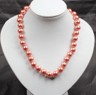 12mm Orange Pink Color Round Glass Pearl Beads Choker Necklace Jewelry