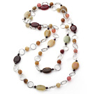 popular long style garnet and three color jade necklace under $ 40