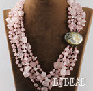 multi strand rose quartze necklace with gem clasp under $100