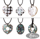 6 pcs Multi Shape Stitching Shell Pendant Necklace with Black Leather under $ 40