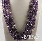 multi strand amethyst white pearl necklace under $ 40