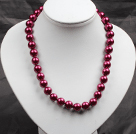12mm Hot Rose Pink Round Glass Pearl Beads Choker Necklace Jewelry