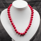 12mm Red Round Glass Pearl Beads Choker Necklace Jewelry