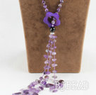 beautiful 21.7 inches Y shape amethyst agate necklace