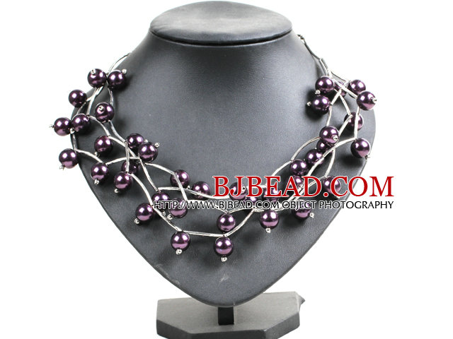 Trendy Style Multi Strand Deep Purple Seashell Beads Twisted Necklace With Bending Alloyed Tube