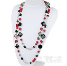 55.1 inches long style red coral black agate necklace under $ 40