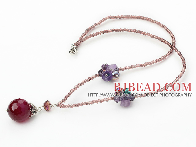 lovely crystal and agate necklace with lobster clasp