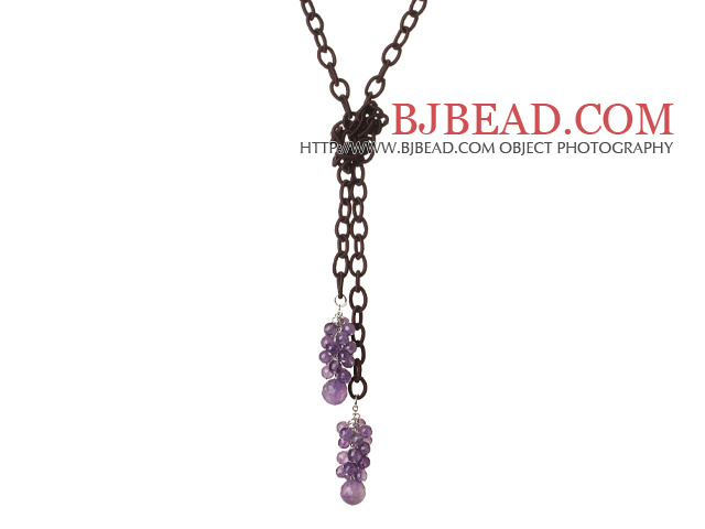 New Long Style Faceted Assorted Amethyst Beads Necklace with Leather Chain