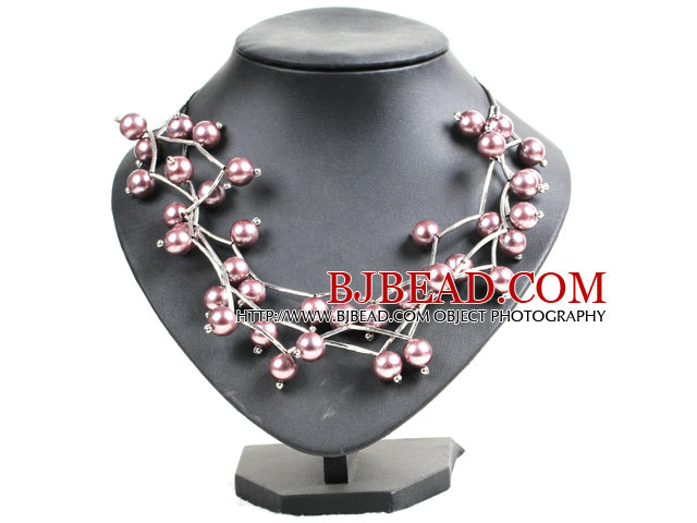 Trendy Style Multi Strand Puce Seashell Beads Twisted Necklace With Bending Alloyed Tube