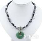 double strand pearl and aventurine necklace with moonlight clasp