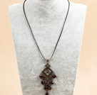 Simple Retro Style Chandelier Shape Garnet Beads Tassel Pendant Necklace With Black Leather