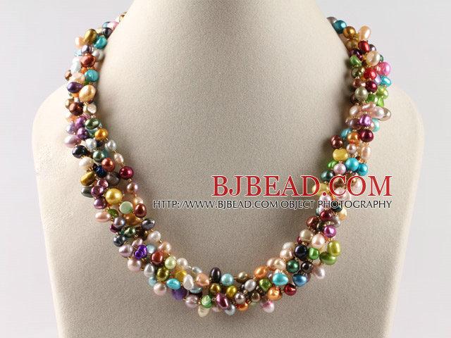 línea de multi collar de perlas de colores con cierre flor