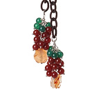 New Long Style Assorted Red and Green Agate Beads Necklace with Leather Chain