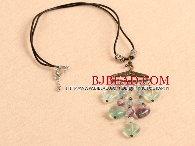 Simple Retro Style Hear Shape Rainbow Fluorite Pendant Necklace With Black Leather and Clothes Rack Accessory